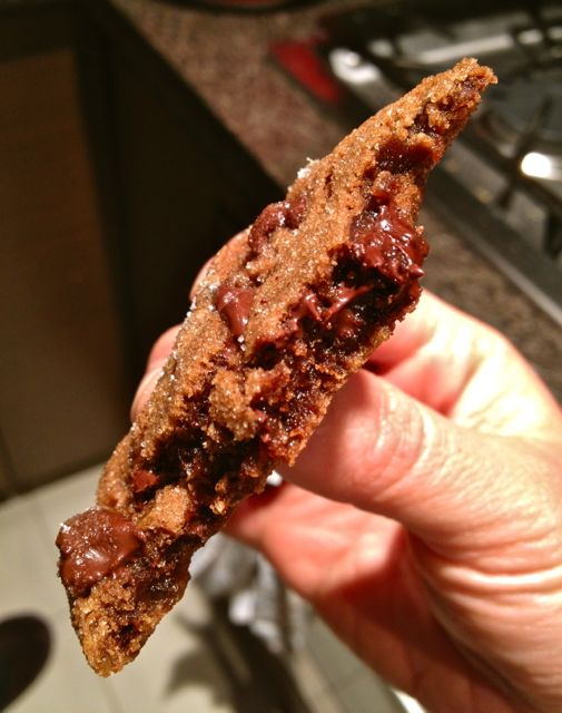 Another beauty shot...of the cookie's molten innards, not of my strange, claw-like hand.