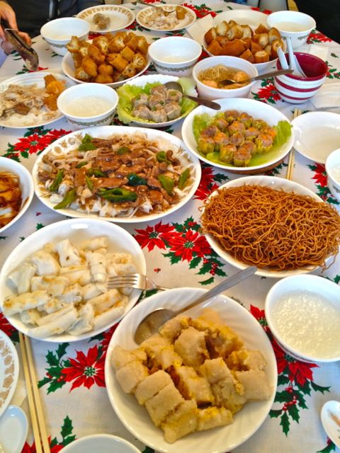 Christmas morning Chinese breakfast with the in-laws - congee, Chinese donuts, soya sauce chow main, beef with rice noodles, fried rice noodle rolls, sticky rice and pork dumplings.