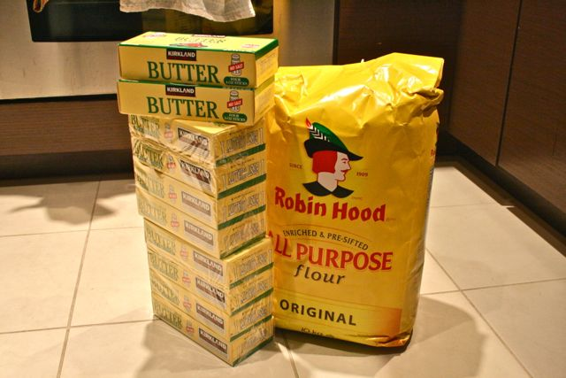 Mrs. Smith made sure I had enough butter and flour for the dough.  There's enough here to make 1500 cookies, much less 150!