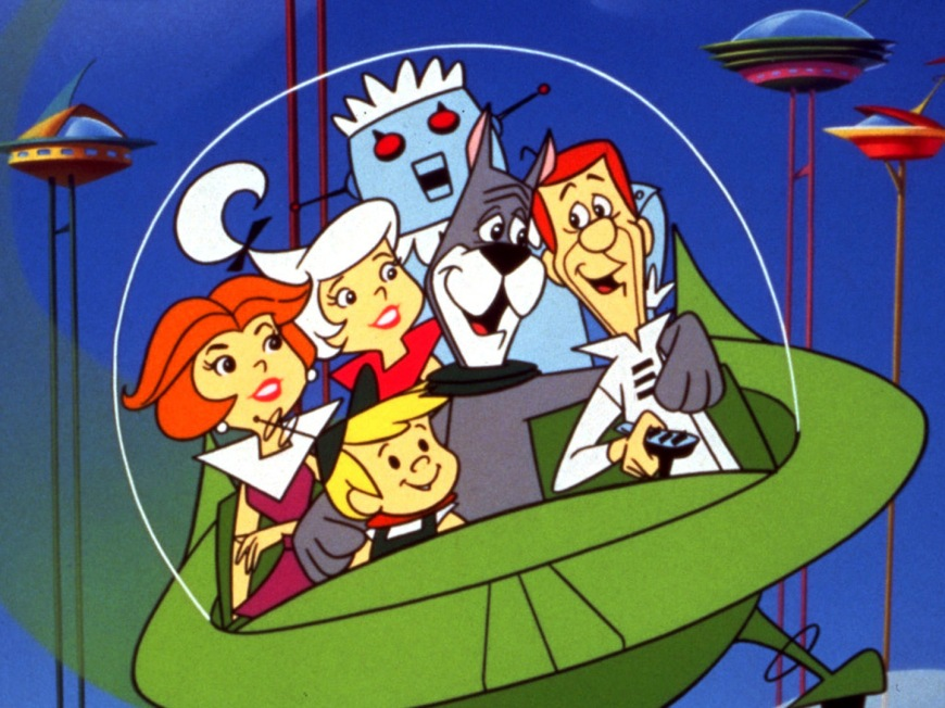 Here are the Jetsons in their flying car.  While we're at it, where the hell is my robot maid?