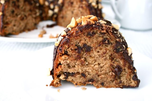 Peanut Butter Banana Bundt Cake with Chocolate Chips for a