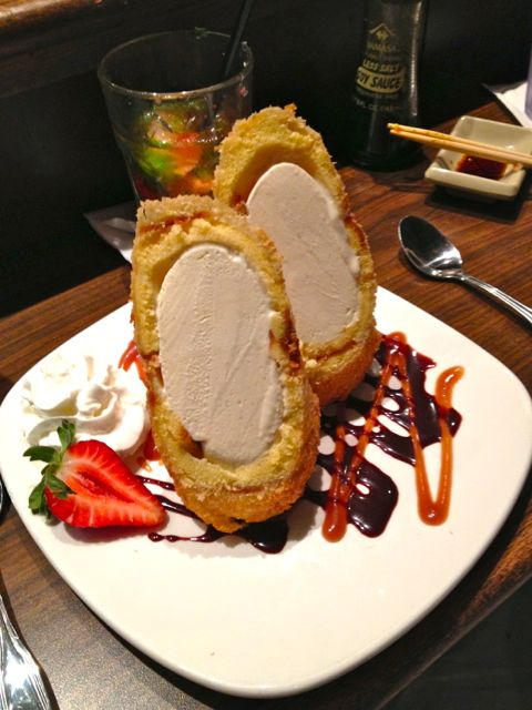 The food was amazing.  This is ice cream wrapped in pound cake crusted with macadamia nuts and deep fried.  INSANE!