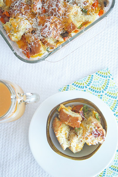 Bacon and egg bread pudding 5