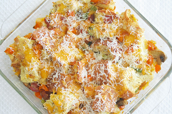 Bacon and eggs bread pudding 2