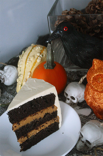 Chocolate Pumpkin Layer Cake for a Halloween #HolidayFoodParty | gotta ...