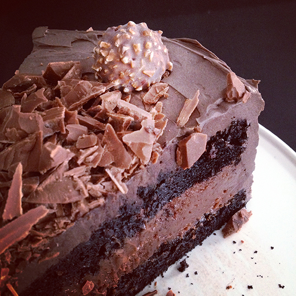 Chocolate cake with Nutella cheesecake